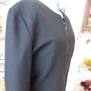 Vintage Custom Taylored Black Wool Blazer